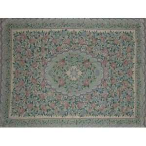 Flowers Pastels Multi Chain Stitched Wool R(2X3FT) Furniture & Decor