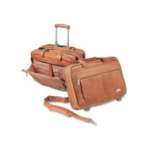 SOLO® Full Grain Leather Rolling Notebook Computer Case