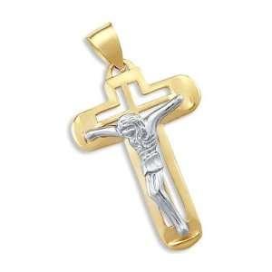 Large 14k Yellow and White Gold Cross Crucifix Pendant Jewelry