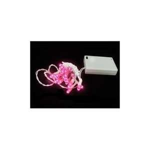 Battery Operated Pink LED Wide Angle Christmas Lights Patio, Lawn