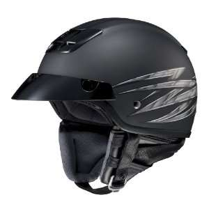 Open Face Motorcycle Helmet Flat Black/Silver Extra Large Automotive
