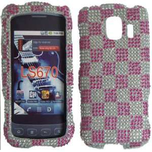 Silver With Pink Tartan Plaid Full Diamond Bling Case Cover for LG