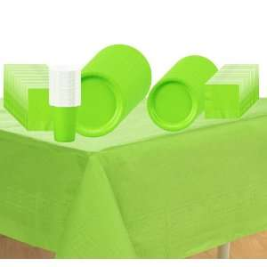 Lime Green) Deluxe Party Supplies Pack Including Plates, Cups, Napkins