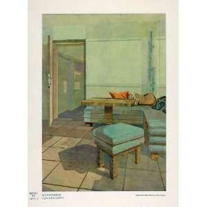 1932 Art Deco Living Room Sofa Table Ottoman Print NICE