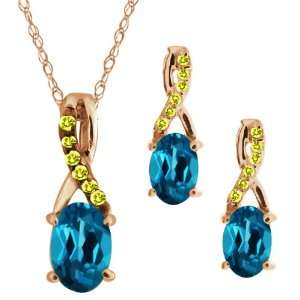 1.76 Ct Oval London Blue Topaz Gold Plated Silver Pendant