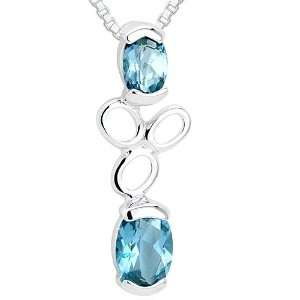 Oval Cut London Blue Topaz Pendant Necklace Sterling Silver Rhodium