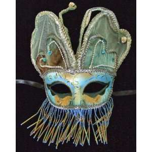 Mask Masquerade Angel Wings Blue & Gold Mardi Gras Halloween Costume
