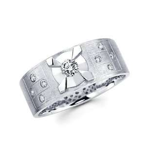 Size  4   New 14k White Gold Mens Diamond Solitaire Wedding Ring Band