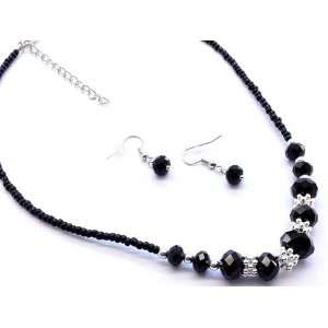 EARRING & NECKLACE SET   Black & Silver Beaded Jewelry Set Jewelry