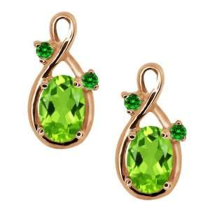 1.08 Ct Oval Green Peridot and Green Diamond 18k Rose Gold
