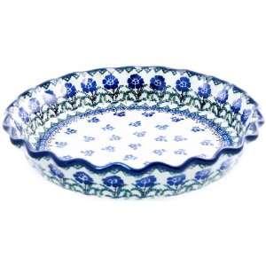 Polish Pottery Ruffled Pie Plate 10 1/4 Kitchen & Dining