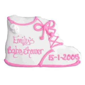 White Baby Bootie Personalized Cookie Favor   Blue or Pink Baby