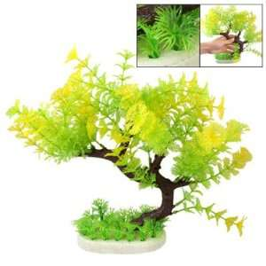 Como 11 Green Yellow Plastic Plants Fish Tank Aquarium