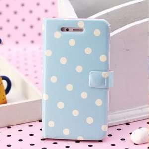 Korea Cute Fashion Dots Wallet Case Cover for iPhone4/4s