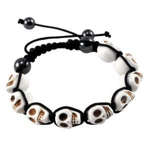 White Prayer Beads Skull Bracelet, Skull Beads, Skull Prayer Beads