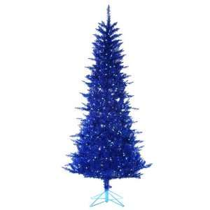 Pre Lit Designer Blue Tiffany Tinsel Artificial Christmas Tree