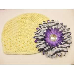 Purple Zebra Animal Print Gerbera Daisy Flower Hair Clip Sports