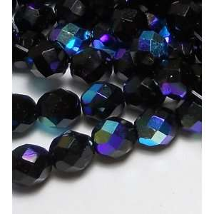 300 Czech Faceted Round Firepolished 6mm Jet Black Ab Glass Beads 1/4
