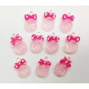 10pc Mini Pink Lollipop Flat Back Resins Cabochons Nail