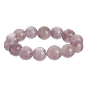 14mm Rose Amethyst Bead Stretch Bracelet Jewelry