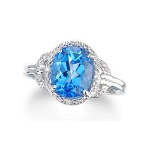 3.57 Ct Royal Blue Topaz & Diamond White Gold Ring New Jewelry
