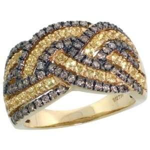 14k Gold Large Braid Ring w/ Black Rhodium Accent, w/ 1.25 Total Carat