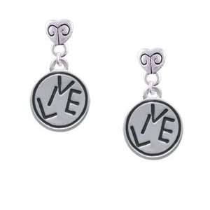 Circle   Two Sided   Silver Plated Mini Heart Charm Earrings [Jewelry