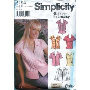 Simplicity Sewing Pattern 5194 Size RR 14, 16, 18, 20 Misses Blouses