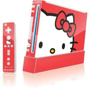 Hello Kitty Cropped Face Red Vinyl Skin for Wii (Includes 1 Controller