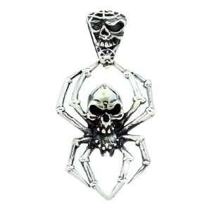Sterling Silver Spider Skull Biker Pendant TrendToGo Jewelry