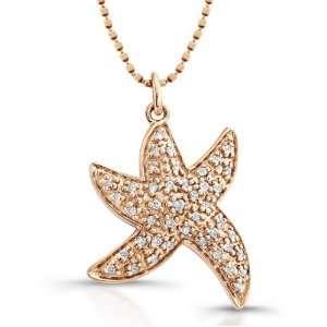 Rose Gold Diamond Starfish Pendant (1/6cttw, IJ, I1 I2), 16 Jewelry