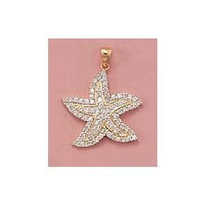 Cubic Zirconia Studded Starfish Pendant, 1 3/8 in (incl bail) Jewelry