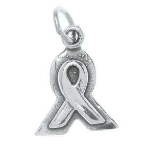 Sterling Silver Framed Ribbon Charm Pendant Breast Cancer