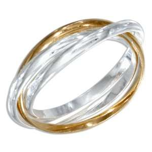 Sterling Silver and 18kt Gold Plated 2mm Three Band Ring