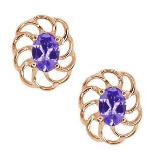 0.90 Ct Oval Blue Tanzanite 18k Rose Gold Earrings Jewelry