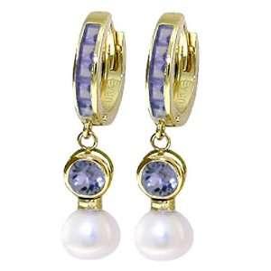 14k Gold Hoop Huggie Earrings with Genuine Pearls & Tanzanites