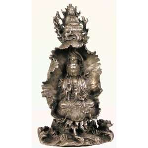 Tibetan Silver Statue Quan Yin on Lotus Leaf