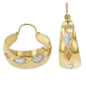 Ladies14K Tri color Gold Hi Polish Laser / Diamond cut Bangle Earrings