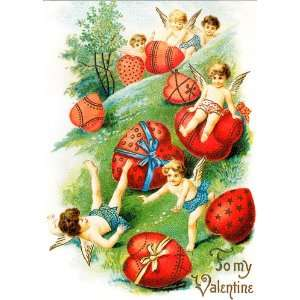 Cupids Vintage Valentines Day Cards School Package Office Products