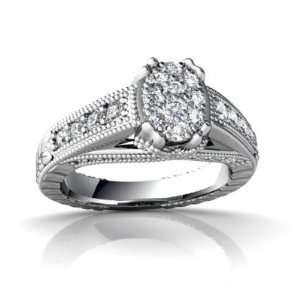 14K White Gold White Diamond Antique Style Ring Size 5