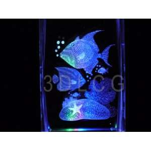 Tropical Fish Aquarium 3D Laser Etched Crystal A2