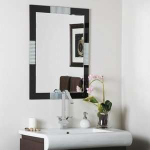 Large Frameless Wall Mirror, Black Finish with Etched Glass