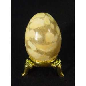 peanut wood egg lapidary carving with gold tone stand Everything Else
