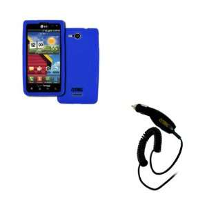 VS840 Silicone Skin Case Cover (Blue) + Car Charger [EMPIRE Packaging