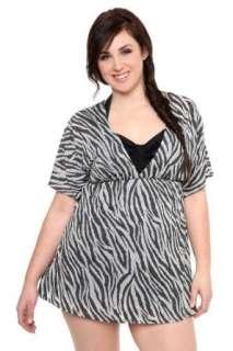 Torrid Plus Size Black Zebra Burn Out Cover Up Swim Top