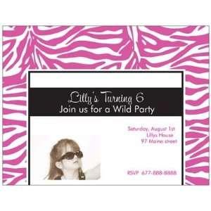 Personalized Zebra Photo Birthday Party Invitations Toys