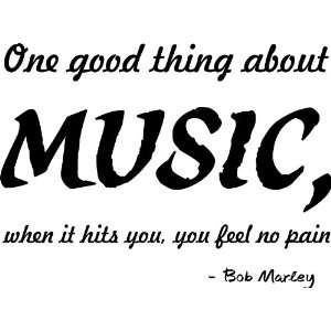 One Good Thing About Music Bob Marley Vinyl Wall Art Decal