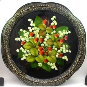 Zhostovo Hand Painted Tray STRAWBERRY & LILY of the VALLEY