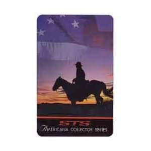Collectible Phone Card 10m Lone Horseman Silhouette Against Sunset
