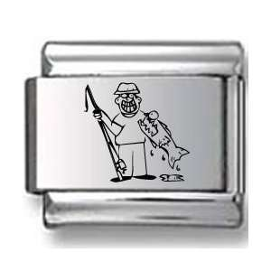 Man caught Fish Laser Italian Charm Jewelry